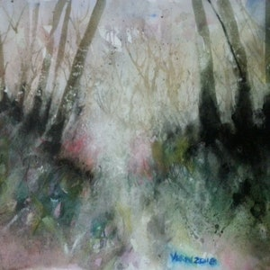 (CreativeWork) scattered trees by peter smart. watercolour. Shop online at Bluethumb.