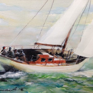 (CreativeWork) sailing boat by peter smart. watercolour. Shop online at Bluethumb.