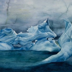 (CreativeWork) Fluted ice by Amanda Robins. watercolour. Shop online at Bluethumb.