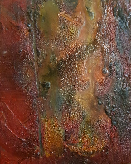 (CreativeWork) Composition Red with Flame, 2014 by Rob Maxwell. oil-painting. Shop online at Bluethumb.