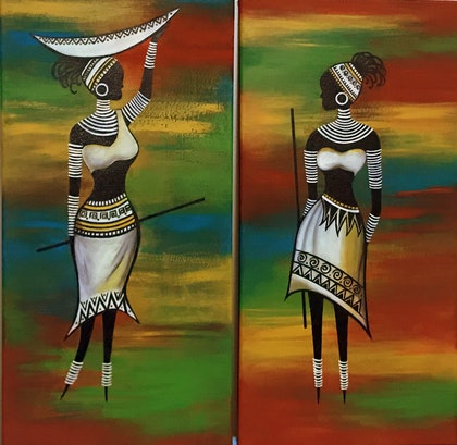 (CreativeWork) African Ladies Duplets by Shoma Anand. arcylic-painting. Shop online at Bluethumb.