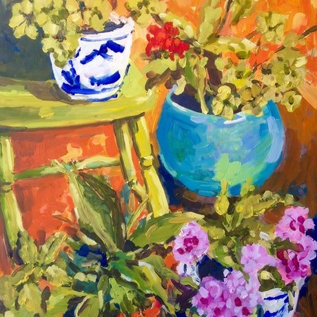 (CreativeWork) Sunshine on My Balcony by Helen Dubrovich. Oil Paint. Shop online at Bluethumb.