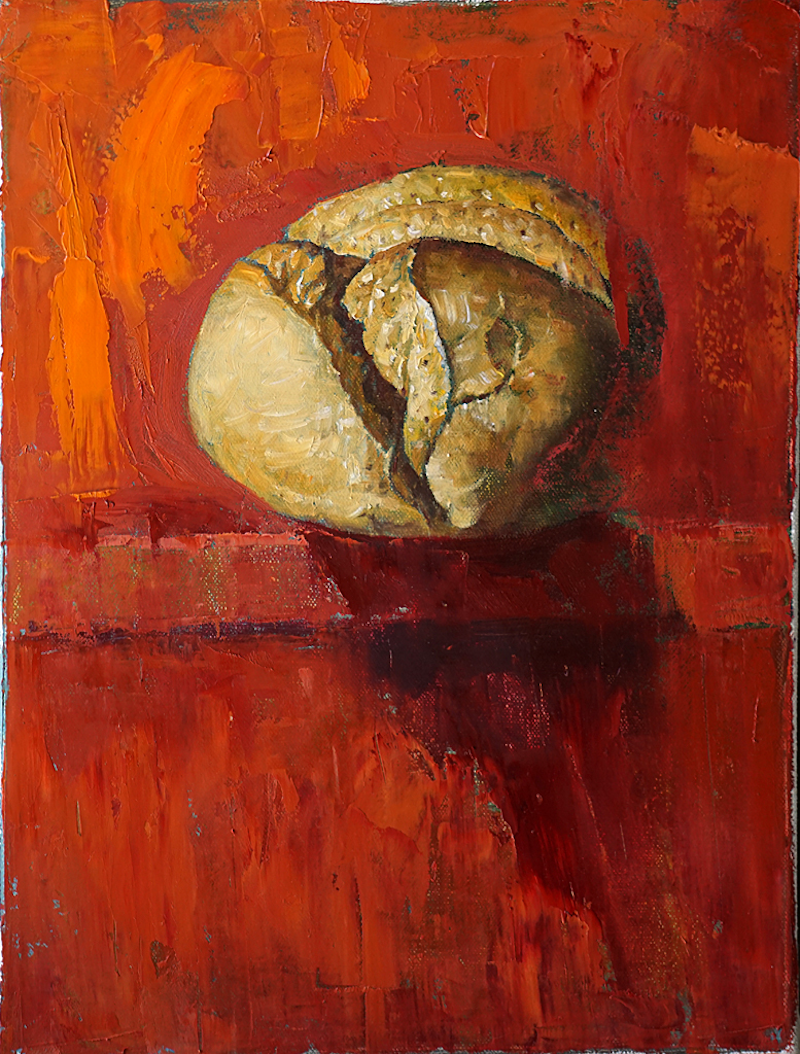 (CreativeWork) Bread-1 by Yuan Fu. oil-painting. Shop online at Bluethumb.