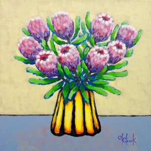 (CreativeWork) Proteas in Yellow and Black Vase by Olga Kolesnik. arcylic-painting. Shop online at Bluethumb.
