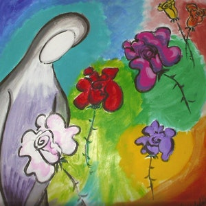 (CreativeWork) loneliness  with roses by grace wilkinson. arcylic-painting. Shop online at Bluethumb.