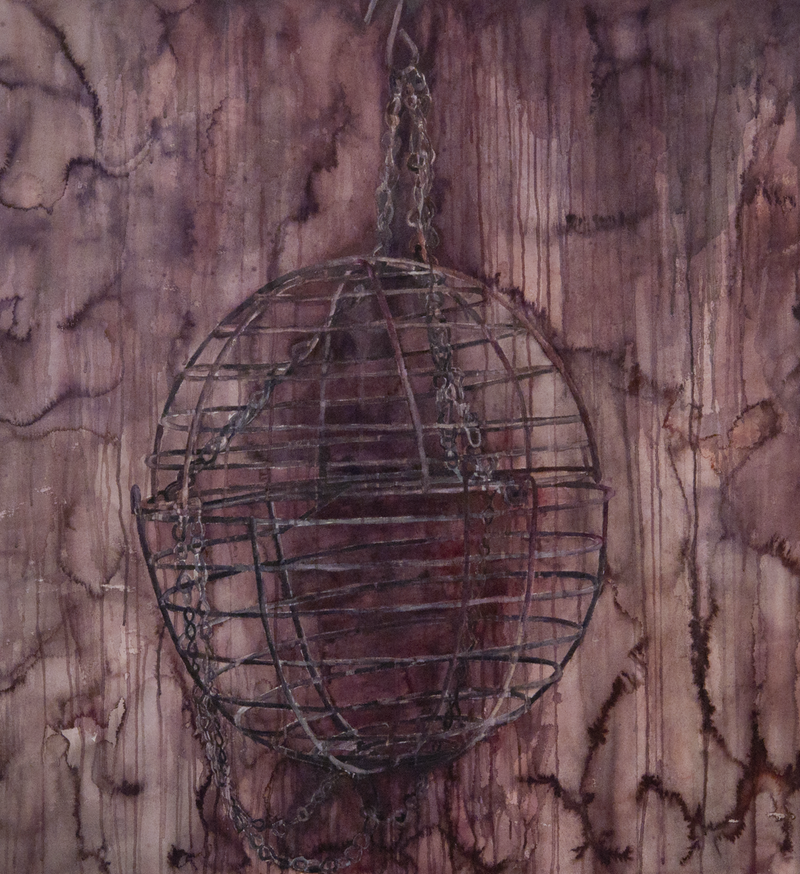 (CreativeWork) Empty Cage by Amanda Robins. watercolour. Shop online at Bluethumb.
