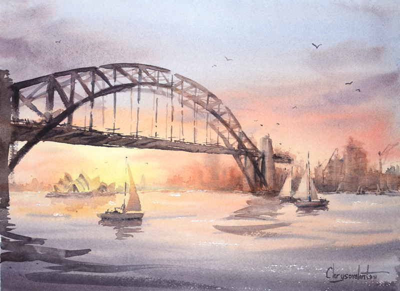 (CreativeWork) Sunset on Sydney Harbour by Chrysovalantou Mavroudis. watercolour. Shop online at Bluethumb.