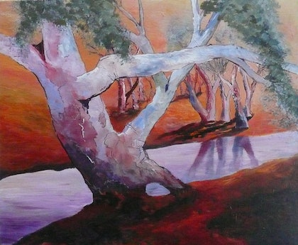 (CreativeWork) The Old Tree by Susan Chacksfield. arcylic-painting. Shop online at Bluethumb.