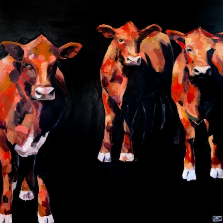 (CreativeWork) Red. Angus. 2870 by Jac Clark. Acrylic Paint. Shop online at Bluethumb.