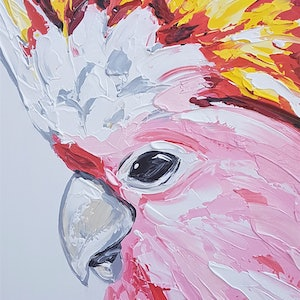 (CreativeWork) Major Mitchell Cockatoo by Lisa Fahey. arcylic-painting. Shop online at Bluethumb.
