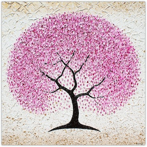 (CreativeWork) Cherry Blossom Tree - textural painting by Miranda Lloyd. mixed-media. Shop online at Bluethumb.
