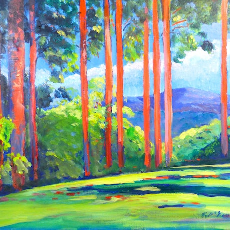 (CreativeWork) Rosins Lookout ,Beechmont,Queensland Gold Coast Hinterland  by Virginia McGowan. Oil Paint. Shop online at Bluethumb.