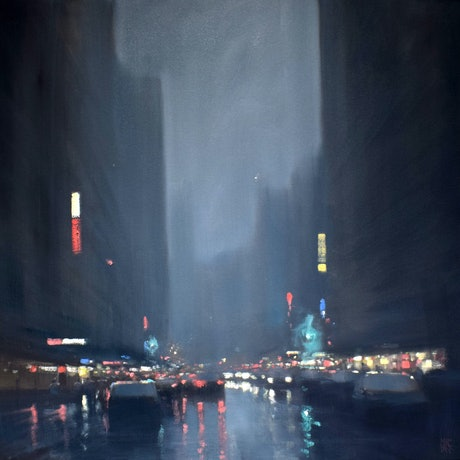 (CreativeWork) City lights by Mike Barr. Oil Paint. Shop online at Bluethumb.