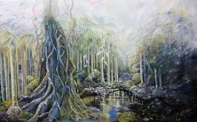 (CreativeWork) Magic Mountain Rainforest by Susan Capan. Oil Paint. Shop online at Bluethumb.