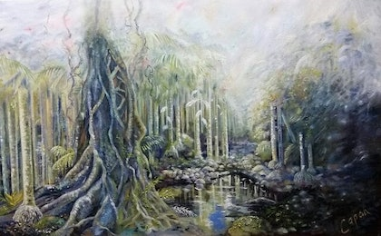 (CreativeWork) Magic Mountain Rainforest by Susan Capan. drawing. Shop online at Bluethumb.