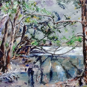 (CreativeWork) Winter Chill on Bibra Lake. by Lurlene Murray. arcylic-painting. Shop online at Bluethumb.