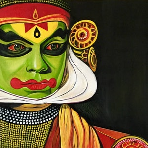 (CreativeWork) Kathakali  Expressions by Pratibha Madan. oil-painting. Shop online at Bluethumb.
