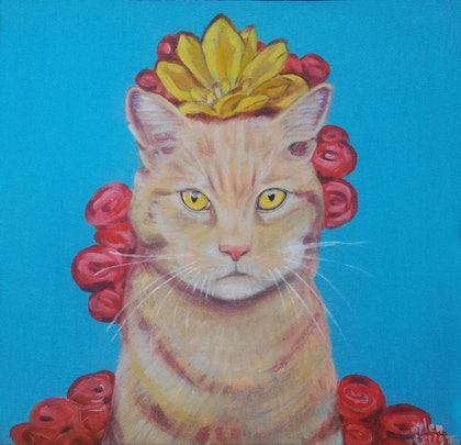 (CreativeWork) Flower cat by Aylen Crusta. arcylic-painting. Shop online at Bluethumb.