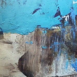 (CreativeWork) Moody Blue by Deborah Zibah. oil-painting. Shop online at Bluethumb.