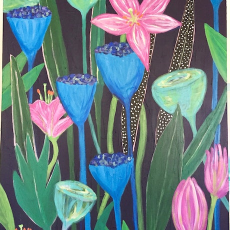 (CreativeWork) Night Garden   by Lizzie Alsop. Acrylic Paint. Shop online at Bluethumb.