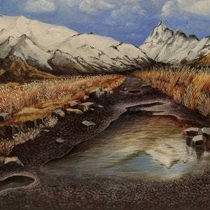 (CreativeWork) Views of Mount Cook - New Zealand by Swapnil Nevgi. arcylic-painting. Shop online at Bluethumb.