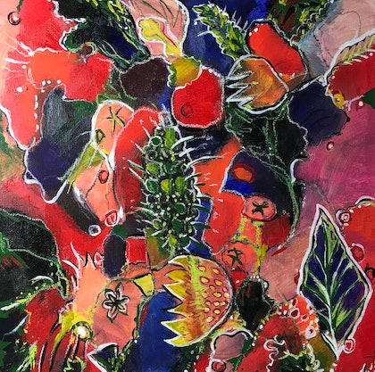 (CreativeWork) BOTANICAL JOYS #2 by LOUISE GROVE WIECHERS. arcylic-painting. Shop online at Bluethumb.