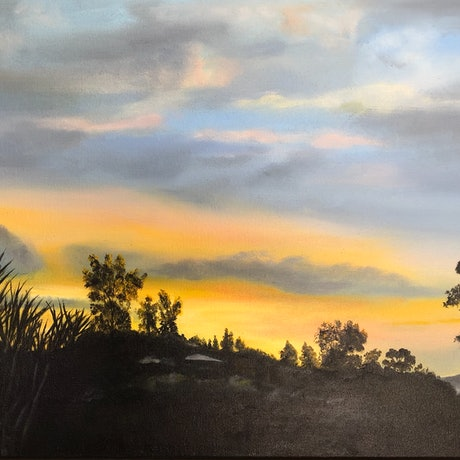 (CreativeWork) Sunset Sundowner by Bernadette McConville. Oil Paint. Shop online at Bluethumb.