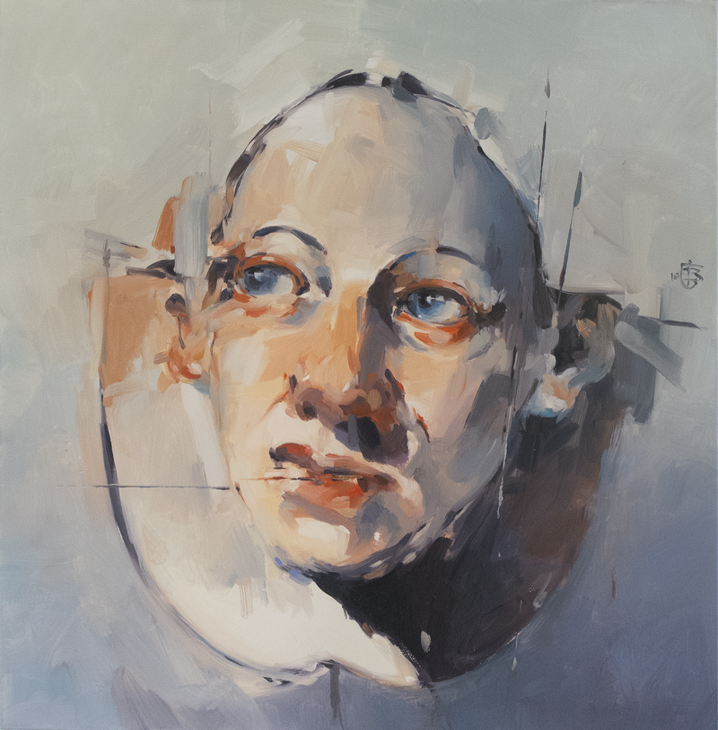 (CreativeWork) Portrait of Young Man  ( The Gaze ) by Tony Belobrajdic. Oil Paint. Shop online at Bluethumb.