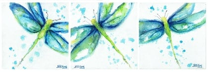 (CreativeWork) Dragonfly Triptych by Jess King. arcylic-painting. Shop online at Bluethumb.