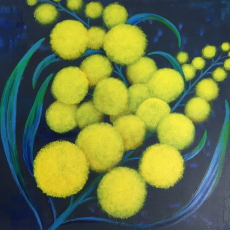 (CreativeWork) Golden Wattle Celebration by Jessica Thomas. Acrylic Paint. Shop online at Bluethumb.