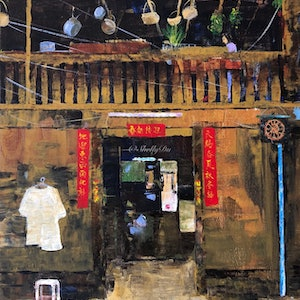 (CreativeWork) Chinatown home by Shelly Du. arcylic-painting. Shop online at Bluethumb.