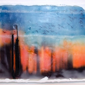 (CreativeWork) Crazy Sunset 1 by Deb Gartland. other-media. Shop online at Bluethumb.