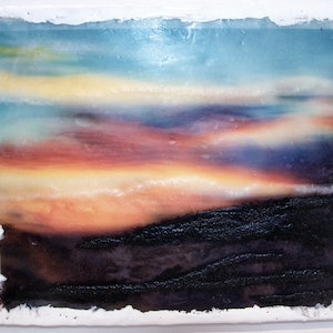 (CreativeWork) Crazy Sunset 2 by Deb Gartland. other-media. Shop online at Bluethumb.