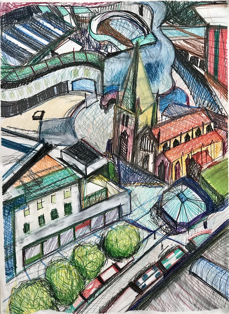 (CreativeWork) Above The City - Large Drawing  by Alison Pilcher. mixed-media. Shop online at Bluethumb.