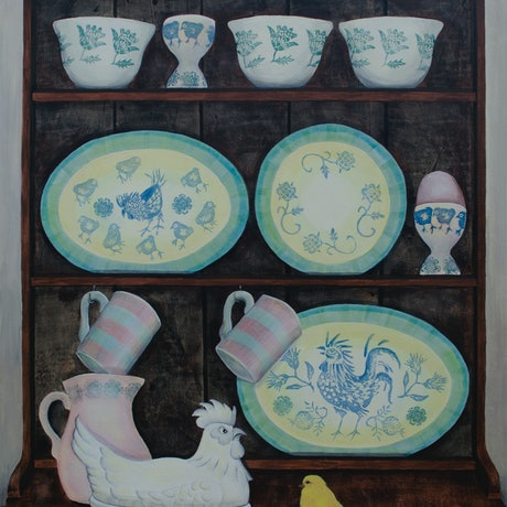 (CreativeWork) The China Hen  by Sarah Mitchell. Acrylic Paint. Shop online at Bluethumb.