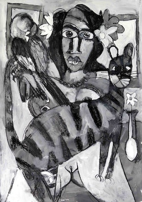 (CreativeWork) Girl with cat and parrot  by John Graham. Mixed Media. Shop online at Bluethumb.