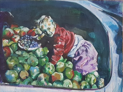 (CreativeWork) Infant on Apples in Car Boot by Leo Alexander Scott. oil-painting. Shop online at Bluethumb.