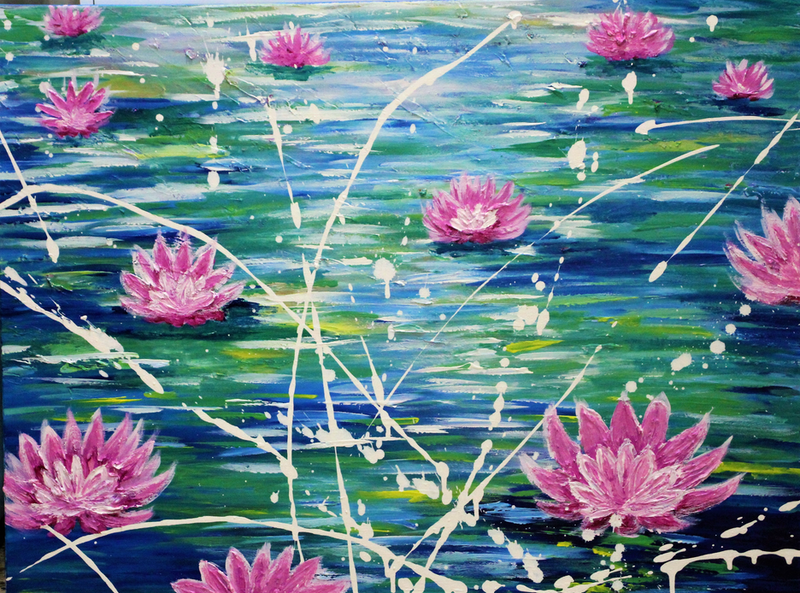 (CreativeWork) The Beauty of the  Lotus by Wendy Hocking. arcylic-painting. Shop online at Bluethumb.