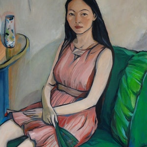 (CreativeWork) Boyun Liu with green spanish fan by Liza Merkalova. oil-painting. Shop online at Bluethumb.