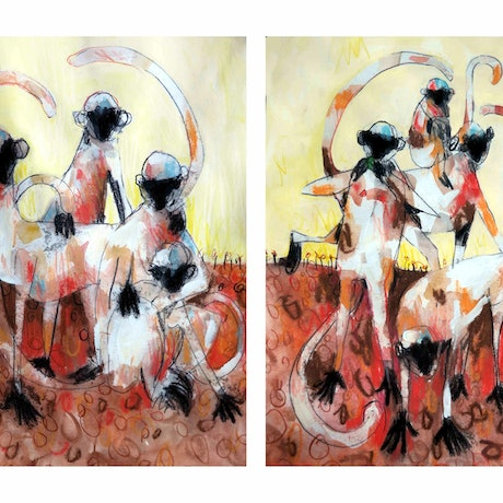 (CreativeWork) Langur Monkey Number 3 - Diptych - set of 2 by John Graham. Mixed Media. Shop online at Bluethumb.