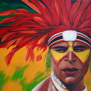 (CreativeWork) PNG Warrior  by Grazia Carrara. oil-painting. Shop online at Bluethumb.