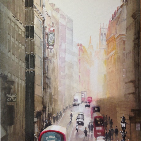 (CreativeWork) A Street in London by peter smart. Watercolour Paint. Shop online at Bluethumb.