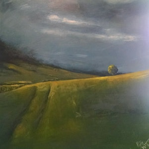 """(CreativeWork) """"Light on the hill"""" by Kylie van Tol. arcylic-painting. Shop online at Bluethumb."""