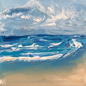 (CreativeWork) Rough Water by Amanda Hunt. arcylic-painting. Shop online at Bluethumb.