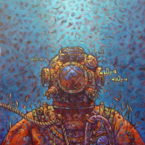 (CreativeWork) Diver Below by Malcolm Lindsay. acrylic-painting. Shop online at Bluethumb.
