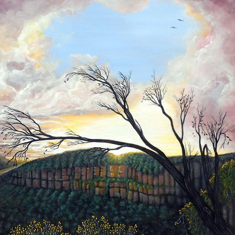 (CreativeWork) Blue Mountains Twilight (Highly Commended BMCAN) by Linda Callaghan. Acrylic Paint. Shop online at Bluethumb.