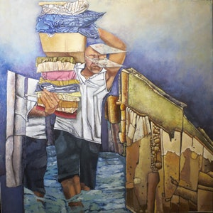 (CreativeWork) Floating House by Maria Peña. oil-painting. Shop online at Bluethumb.