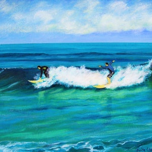 (CreativeWork) 'Winter Surfers,  Cottesloe Beach' by Brita Lee. oil-painting. Shop online at Bluethumb.