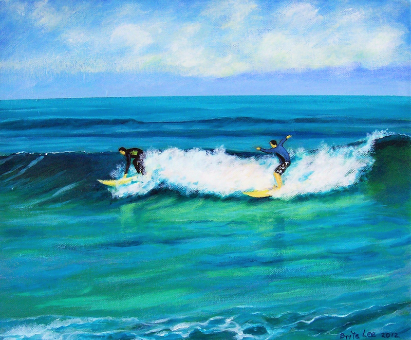 (CreativeWork) 2 Catch a Wave - Surfboard Riders, Cottesloe by Brita Lee. oil-painting. Shop online at Bluethumb.