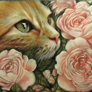 (CreativeWork) Stop and smell the roses  by Raffaella Picotti. drawing. Shop online at Bluethumb.